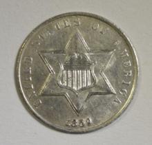 1859 THREE CENT SILVER  BU