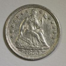 1853 SEATED LIBERTY HALF DIME AU