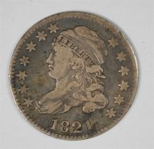 1821 BUST DIME, VF  ORIGINAL