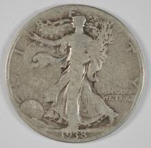 1938-D WALKING LIBERTY HALF DOLLAR, VG KEY DATE