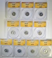 Graded MERCURY DIME LOT - 10  ANACS - 1918-D EF40 DETAILS, 1940-D AU55 DETAILS,