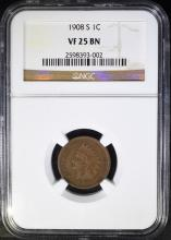 1908-S INDIAN HEAD CENTS - NGC VF25 BN
