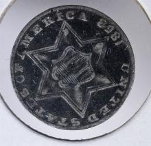 1858 3c SILVER - FINE