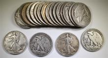 90% SILVER HALF DOLLAR ROLL - 20 COINS - MIXED  WALKING LIBERTYS