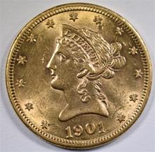 1901 $10.00 GOLD LIBERTY, AU/UNC