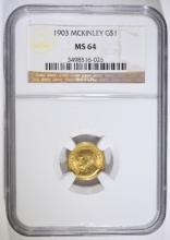 1903 McKINLEY $1 GOLD COMMEMORATIVE NGC MS 64