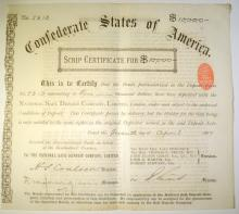1887 APRIL 7  CONFEDERATE STATE of AMERICA $10,000 SCRIP with COA - NICE