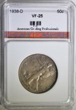 1938-D WALKING LIBERTY HALF DOLLAR, AGP VF