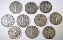 ( 10 ) DIFFERENT WALKING LIBERTY HALF DOLLARS CIRC AND BETTER