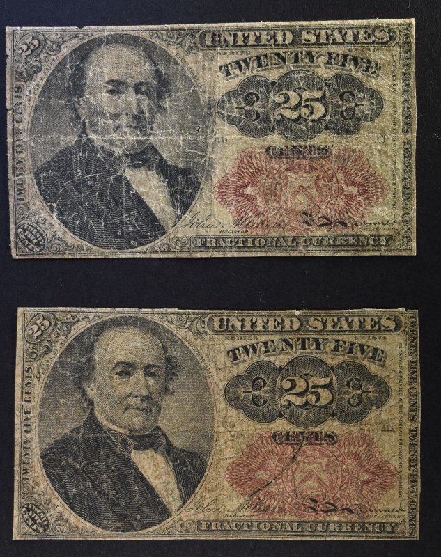 2 1874 25 Cent Fractional Currency Circs
