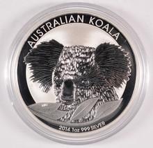 2014 AUSTRALIAN KOALA, ONE OUNCE .999 SILVER DOLLAR COIN, IN ORIGINAL CAPSULE