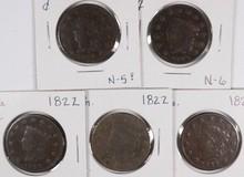 (5) 1822 LARGE CENTS