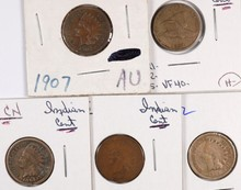 (5) INDIAN HEAD CENTS (07, 57, 62, 64, 65))