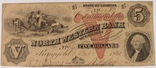 1861 $5 Northwestern Bank GA
