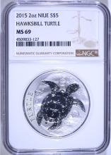 2015 NIUE 2 OUNCE .999 SILVER HAWKSBILL TURTLE, NGC MS-69