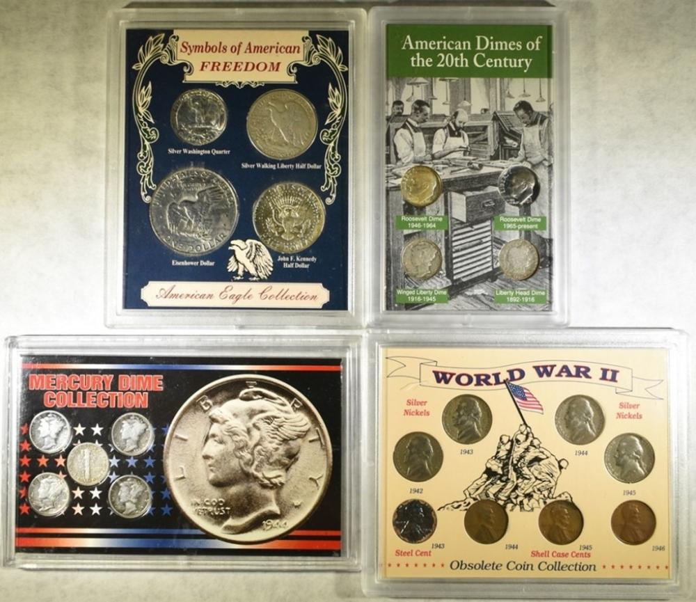 4-DIFFERENT COIN COLLECTIONS CONTAINING SILVER