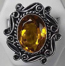 New German Silver Ring, Lemon Quartz, Size: 8