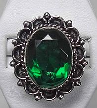 New German Silver Ring, Size 6, Green Emerald