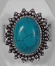 New German Silver Ring, Size 6, Syn. Emerald