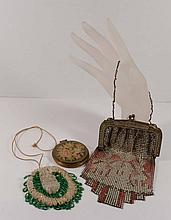 Vintage Lot contains Signed Whiting & Davis metal mesh  purse, old beaded purse