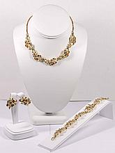 Singed Vintage Coro Necklace, Bracelet and Clip Back Earrings Set
