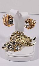 Vintage Signed B.S.K. Brooch and clip back Earrings set