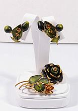 Vintage signed Austria Pin and Earrings Set, comes with original tag