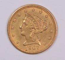 1907 $2.50 GOLD LIBERTY, AU/BU