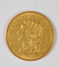 1834 CLASSIC HEAD $2.5 GOLD BU CLEANED
