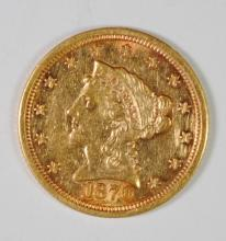 1870-S $2.5 GOLD LIBERTY CH AU CLEANED