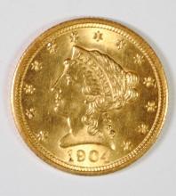 1904 $2.5 GOLD LIBERTY GEM BU