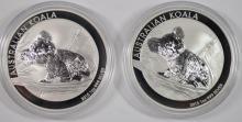 2-GEM BU 2015 AUSTRALIAN KOALA ONE OUNCE .999 SILVER COINS IN ORIGINAL CAPSULES