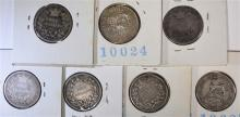 7 - SILVER GREAT BRITAIN SHILLINGS; 1834