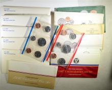 12 - U.S. MINT SETS; 5- 1981, 1986, '87, '88,