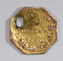 1870 FRACTIONAL GOLD 1/4 25C, BG-752