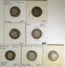 7-EARLY BRITISH SHILLINGS:NICE LOT