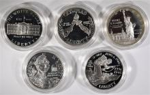 5- SILVER PROOF COMMEM DOLLARS INCL: DOLLY MADISON