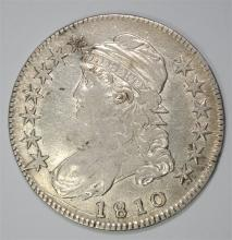 1810 CAPPED BUST HALF DOLLAR, AU  TOUGH EARLY DATE