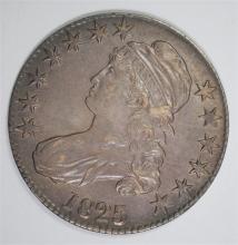 1825 CAPPED BUST HALF DOLLAR, CHOICE AU  NICE ORIGINAL COIN