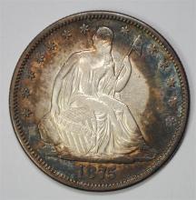 1875-S SEATED HALF DOLLAR, CHOICE BU  CRAZY TONING!