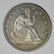 1877-S SEATED LIBERTY HALF DOLLAR,  AU/BU