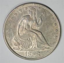 1858-O SEATED LIBERTY HALF DOLLAR, CHOICE BU