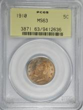 1910 LIBERTY NICKEL, PCGS MS-63  OLD GREEN HOLDER