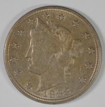 1883 LIBERTY NICKEL WITH CENTS CH AU
