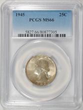 1945 WASHINGTON QUARTER PCGS MS66