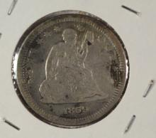 1859 SEATED LIBERTY QUARTER LOVE TOKEN  BEAUTIFUL WORK S/INVERTED S