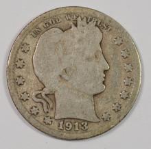 1913 BARBER QUARTER - GOOD / VG