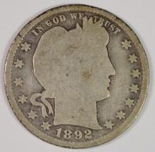 1892-S BARBER QUARTER - AG/G