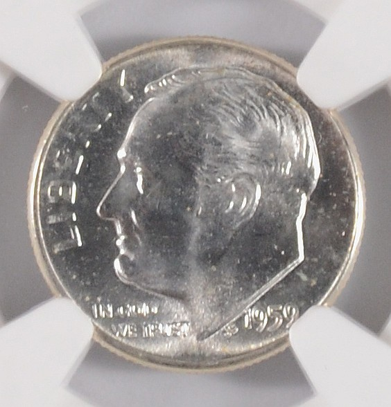 Lot 218 1959 ROOSEVELT DIME NGC MS 66