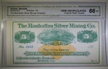 1870's $5 MANHATTAN SILVER MINING COMPANY AUSTIN, NEVADA CGA 66-OPQ